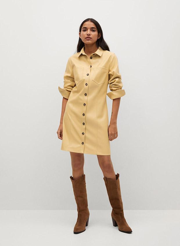Vestido camisero amarillo