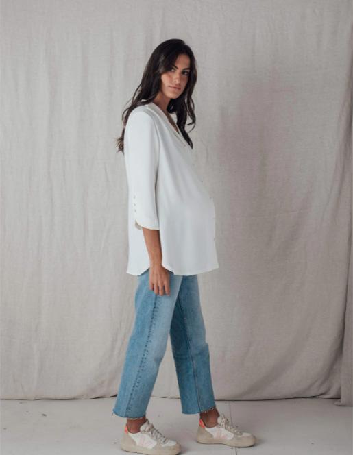 Camisa blanca de embarazada de Bombü