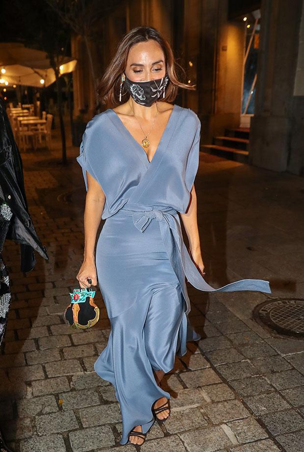Tamara Falcó con vestido satinado
