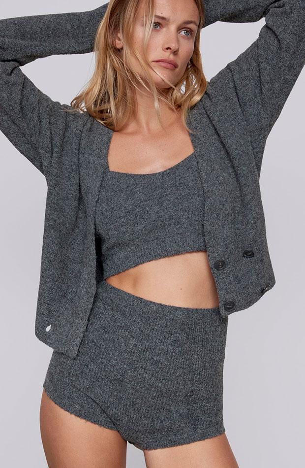 hot pants de punto en color gris Zara