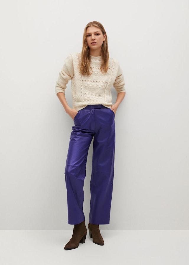 Pantalones rectos de piel