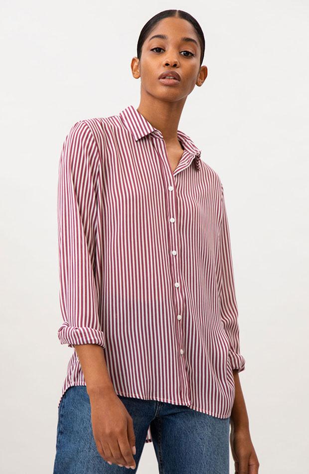 Novedades de Lefties Camisa de rayas rosada
