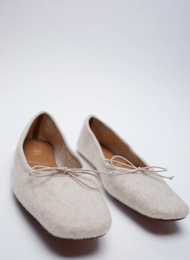 Bailarinas de fieltro de los básicos de Zara