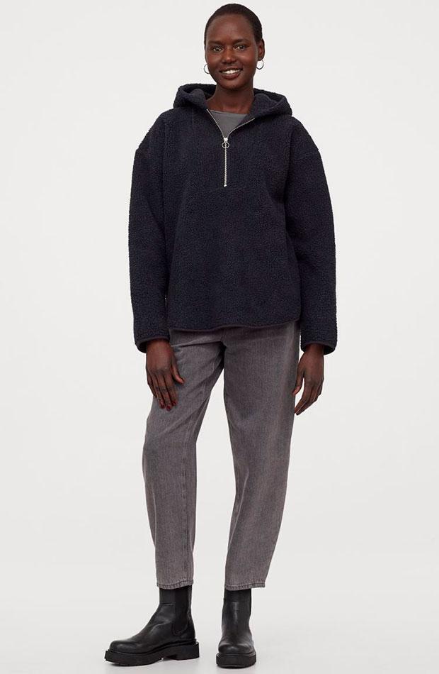 prendas con borreguito Sudadera gris de H&M