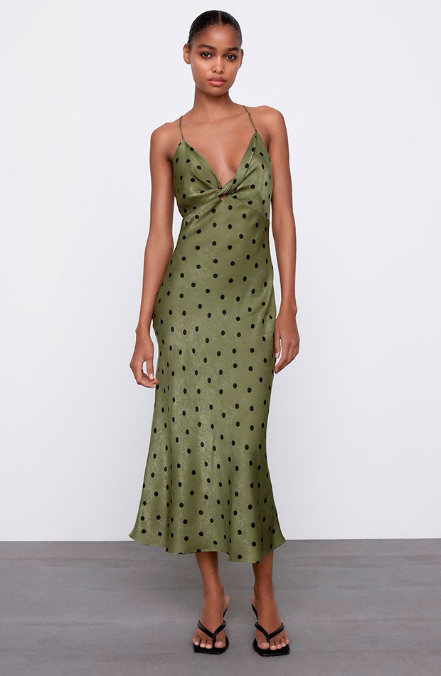 Vestido de lunares de Zara slip dress