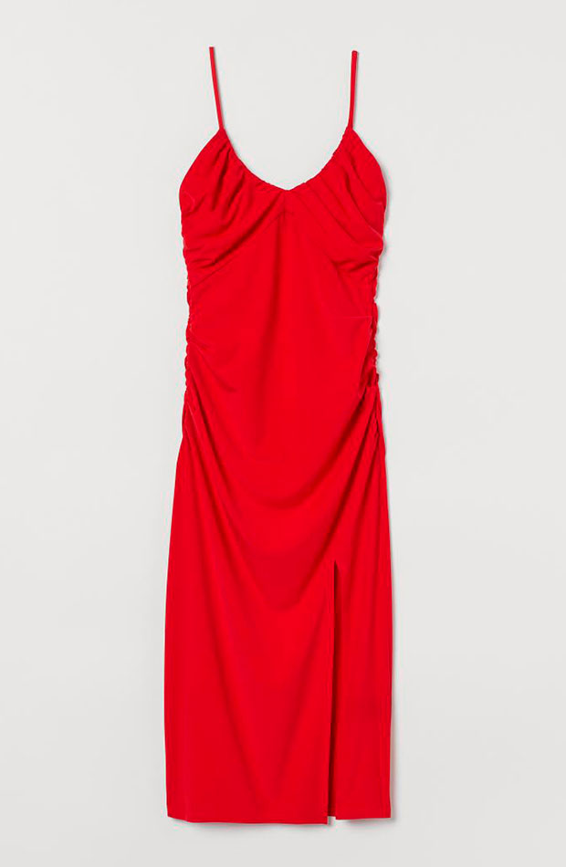 slip dress Vestido drapeado rojo de H&M