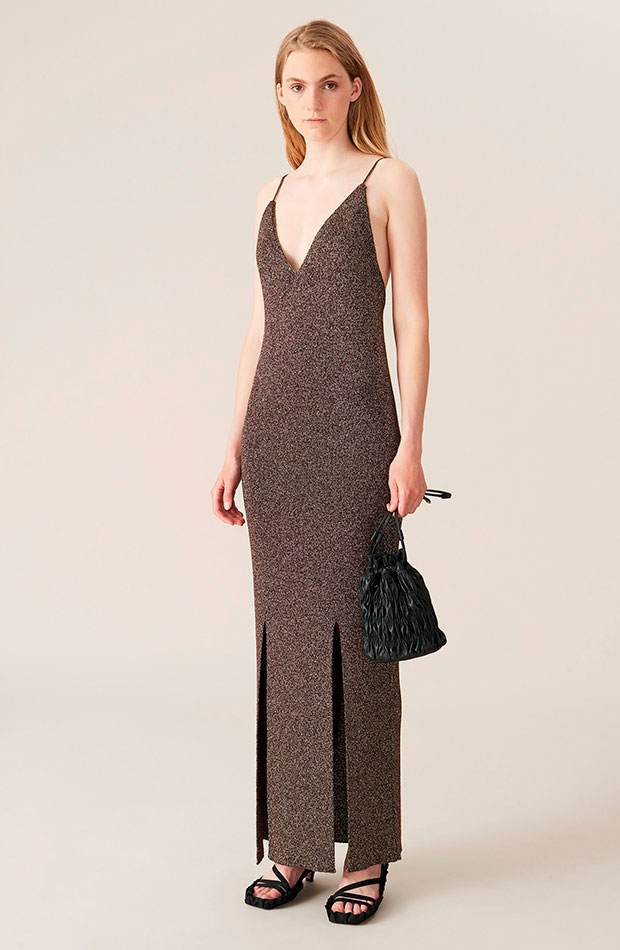 Vestido glitter de Ganni slip dress