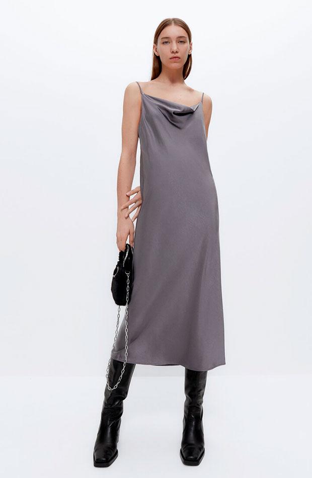 Vestido gris de Uterqüe slip dress