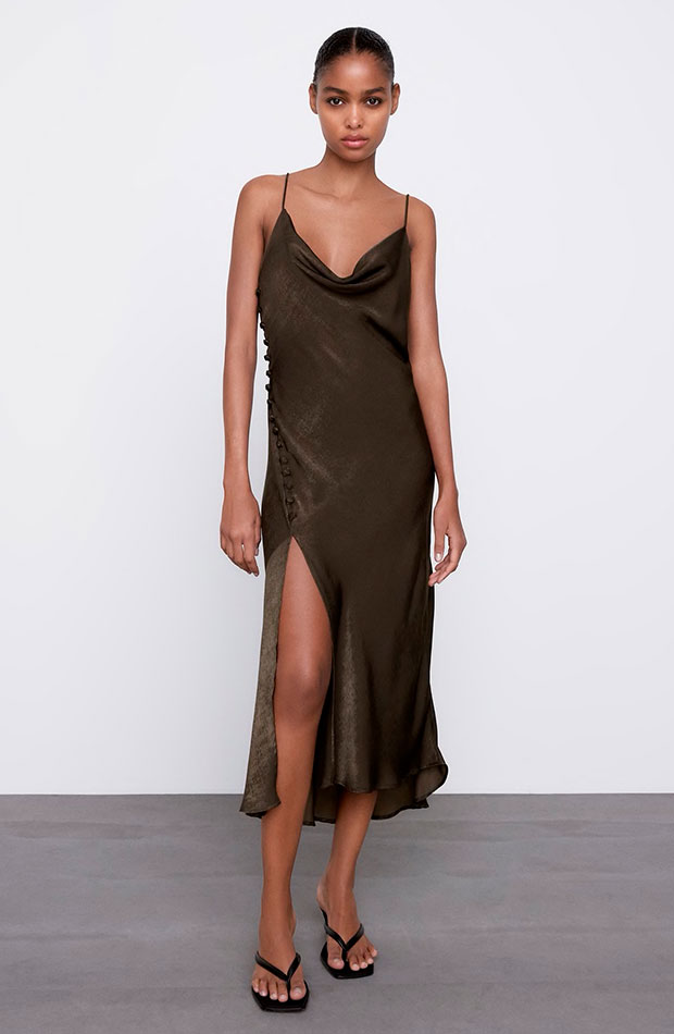 Vestido marrón de Zara slip dress