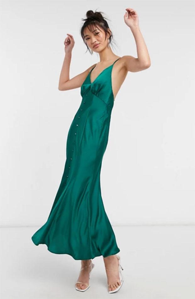 slip dress Vestido verde de Asos