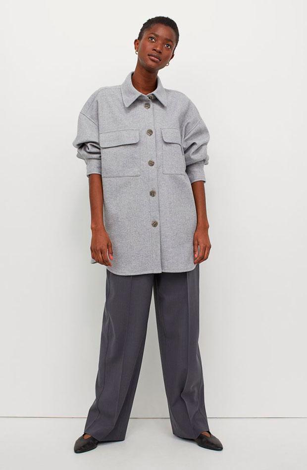 sobrecamisas bonitas para primavera lisa gris H&M