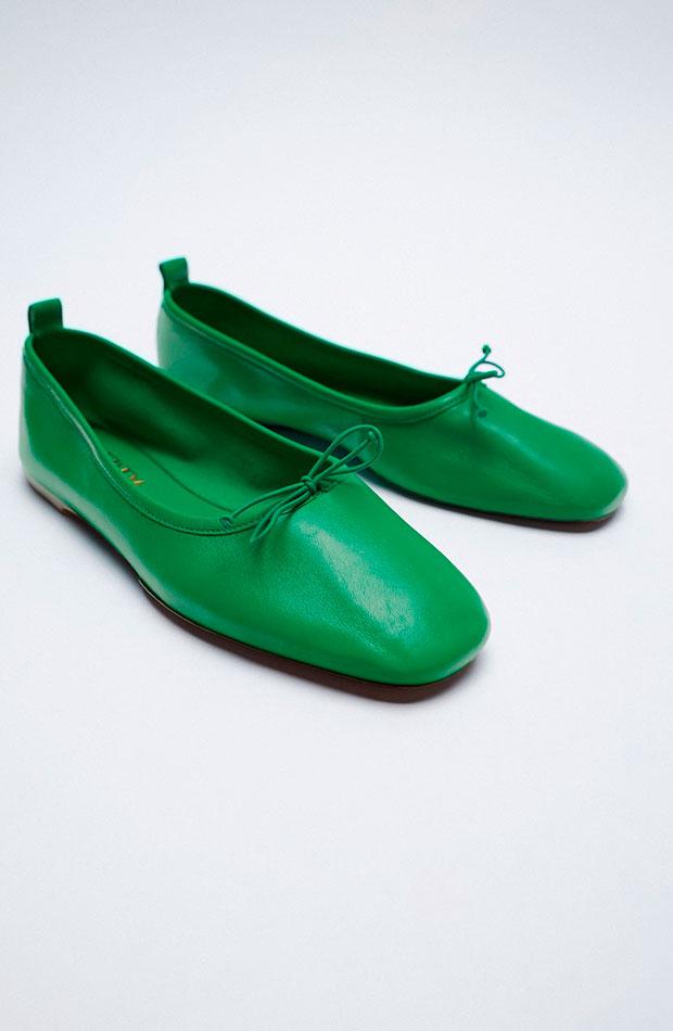 bailarinas verdes de zara