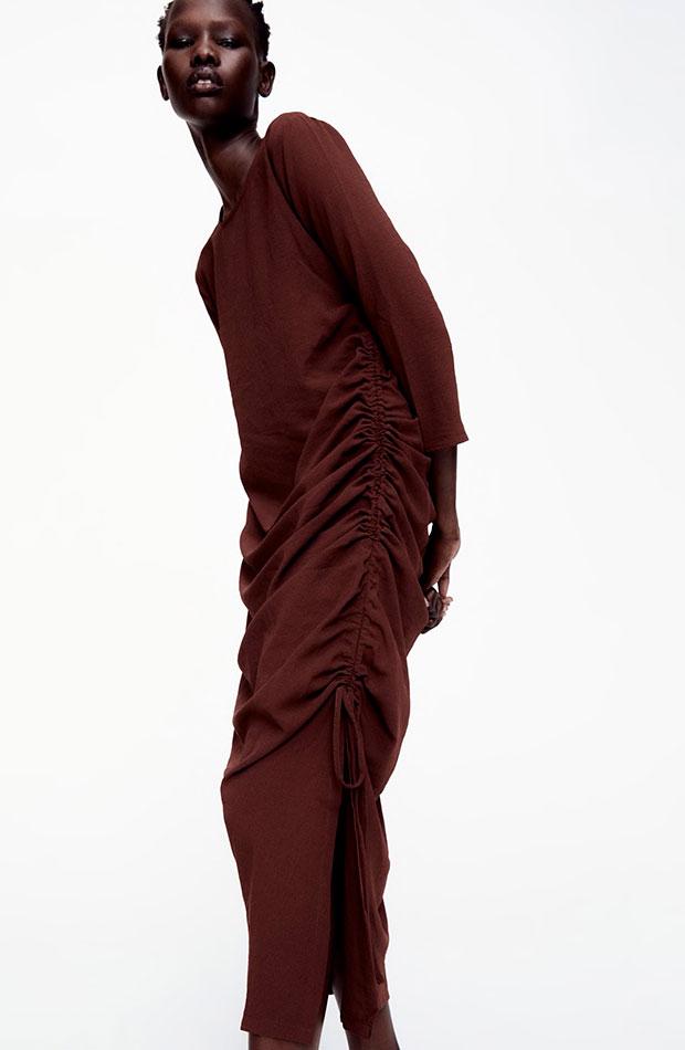 últimas rebajas de Zara vestido frunces