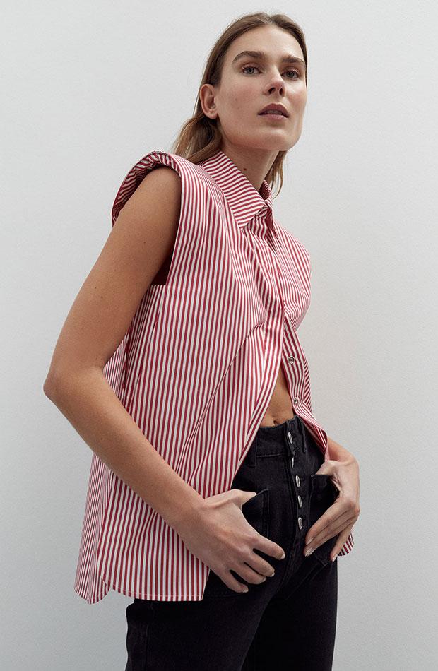 Camisa de rayas sin mangas novedades de sfera