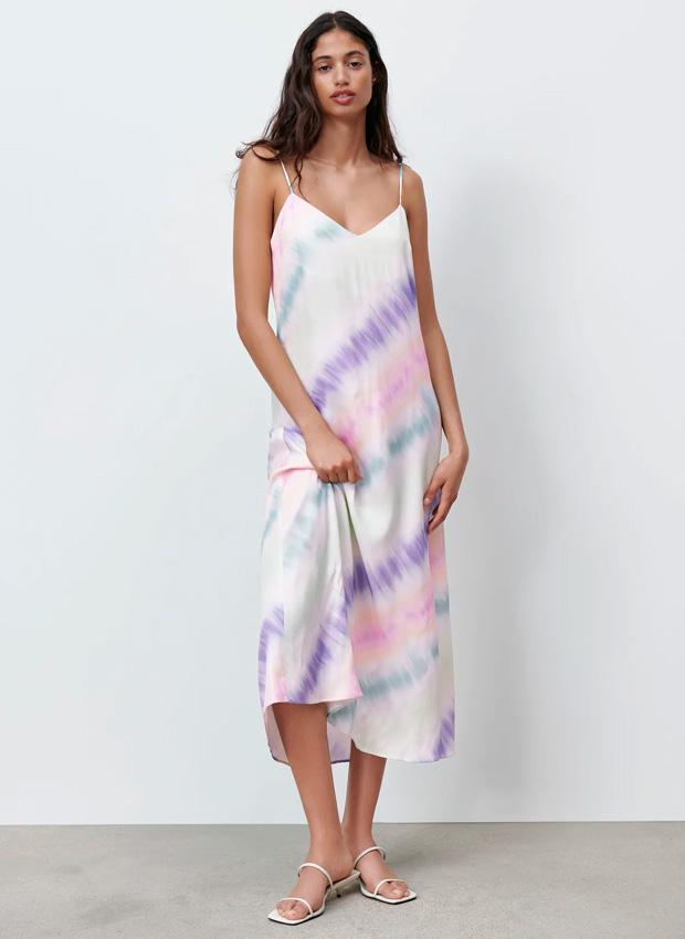 Vestido lencero de efecto tie dye