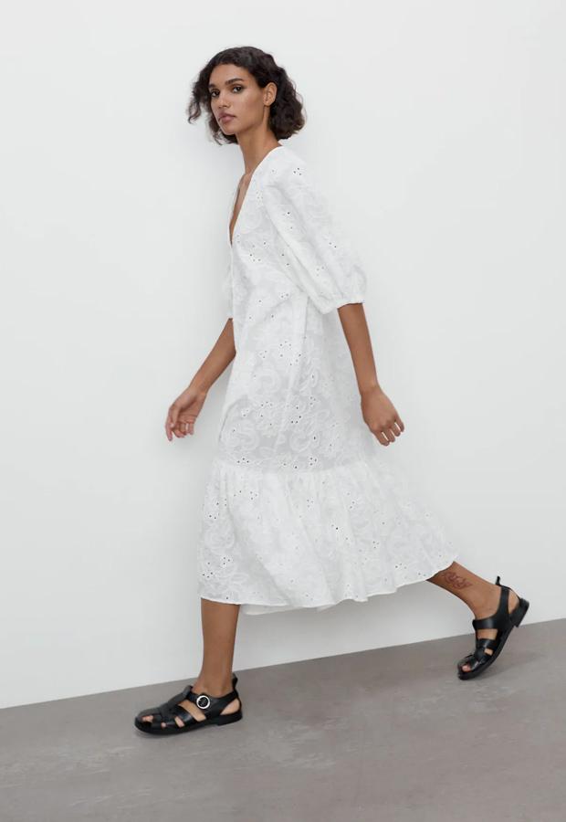 Vestido bohemios de Zara blanco