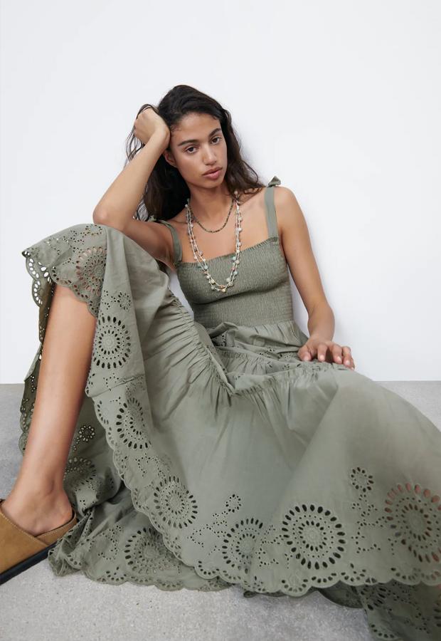 Vestido bohemios de Zara verde