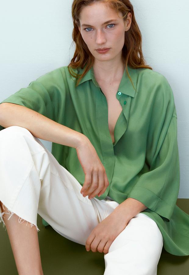 Camisa oversize verde de Massimo Dutti