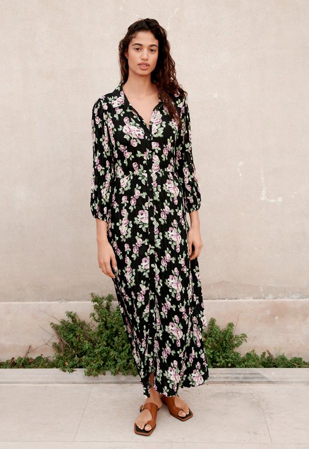 Vestido de flores camisero de Zara