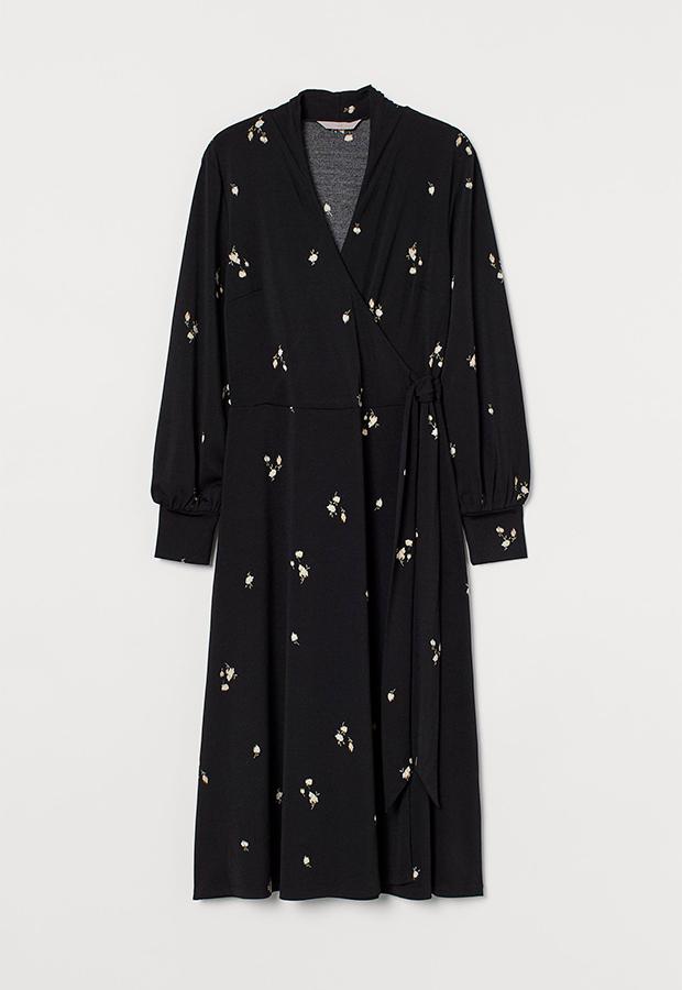 Vestido de flores negro midi