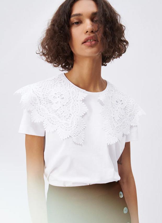 camiseta de zara con cuello grande