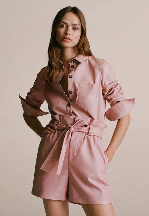 Camisa efecto piel color rosa
