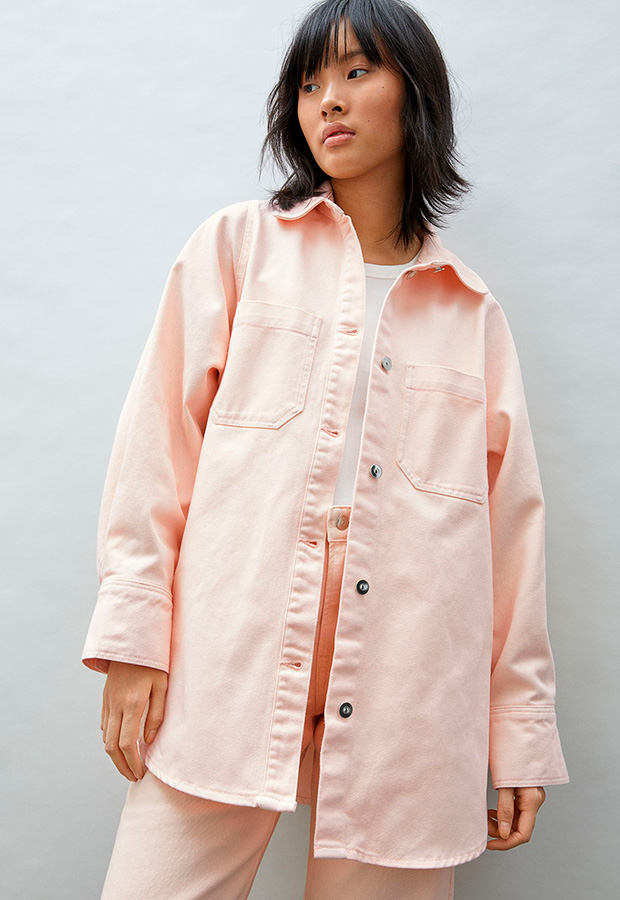 Sobrecamisa denim color rosa
