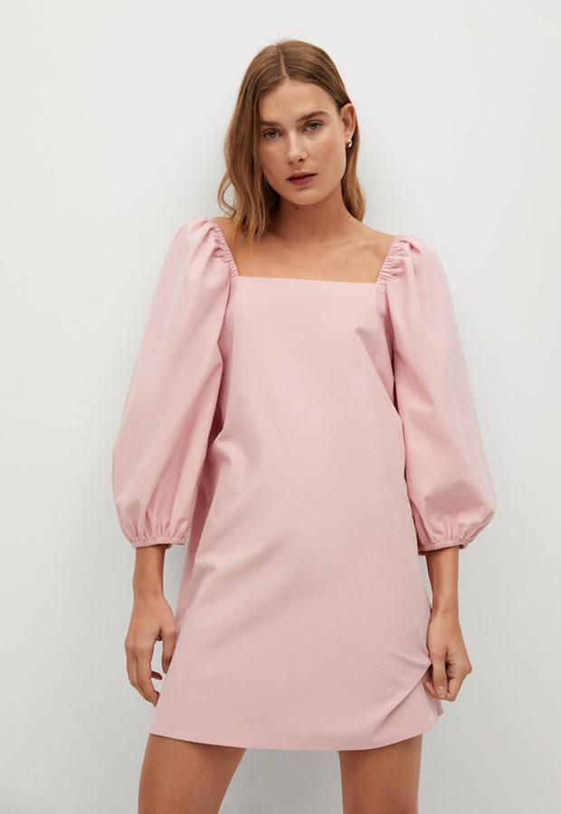Vestido de manga abullonada color rosa