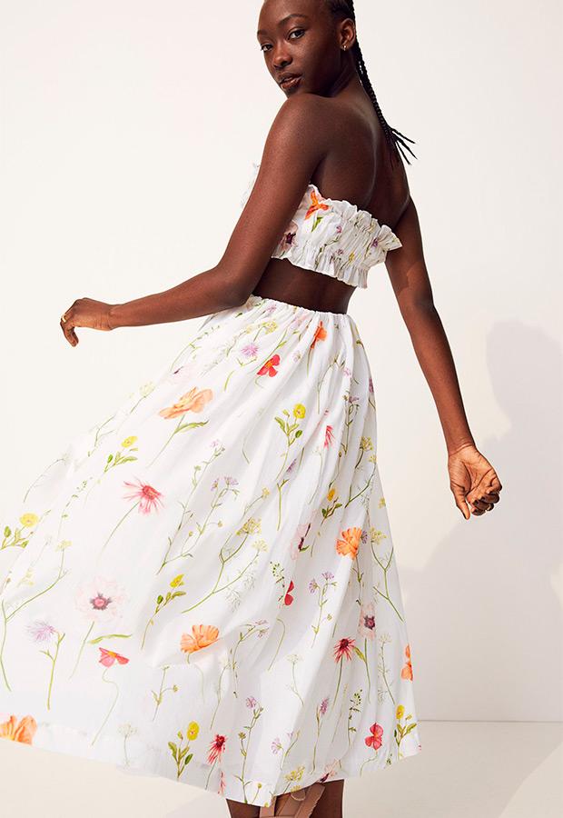 Falda Con maxivolumen y flores