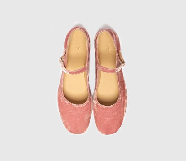 Merceditas de terciopelo rosa