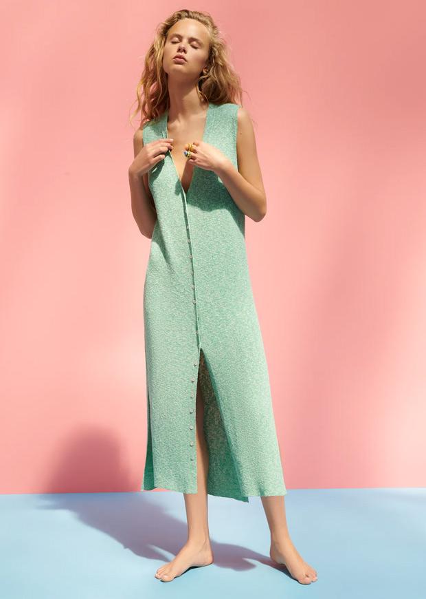 Vestido de punto en verde de Zara