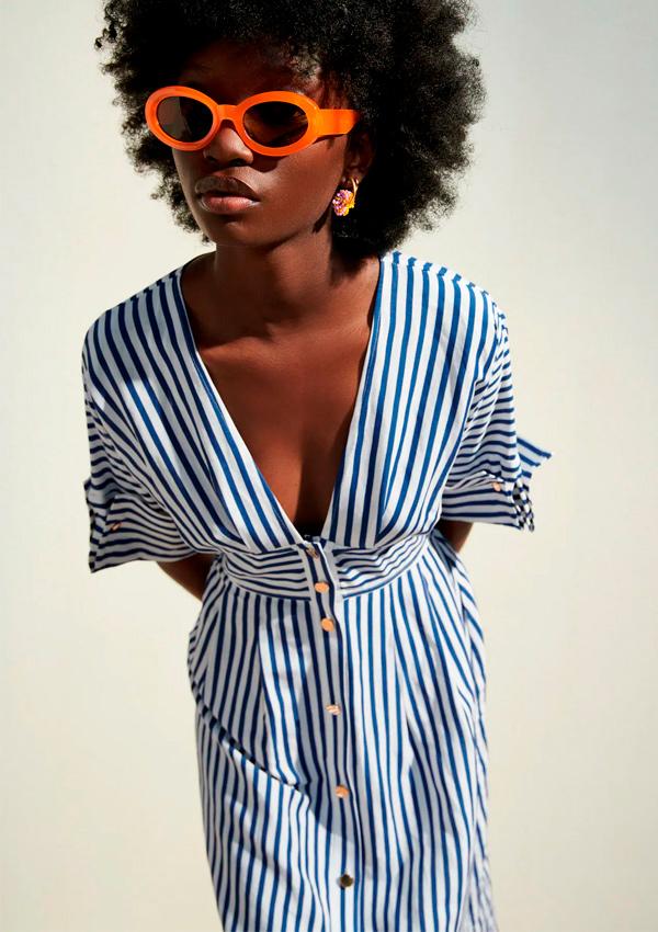 Vestido de lino de rayas marineras