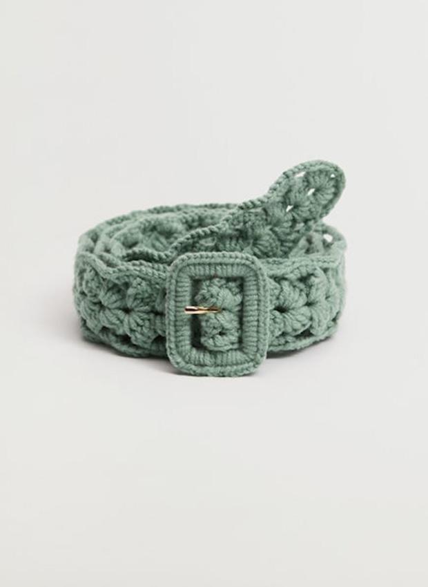 Cinturón de crochet en verde agua