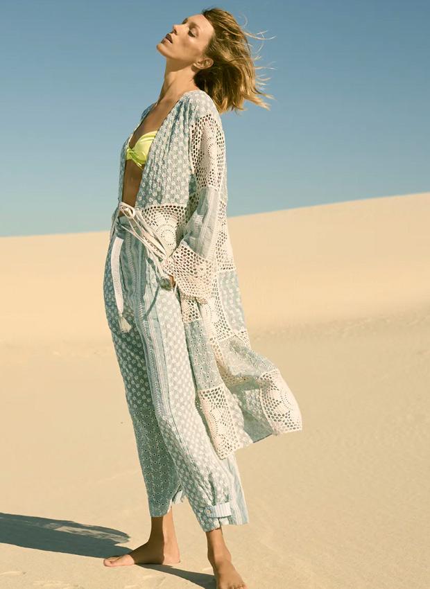 Kimono con detalles de crochet de Zara
