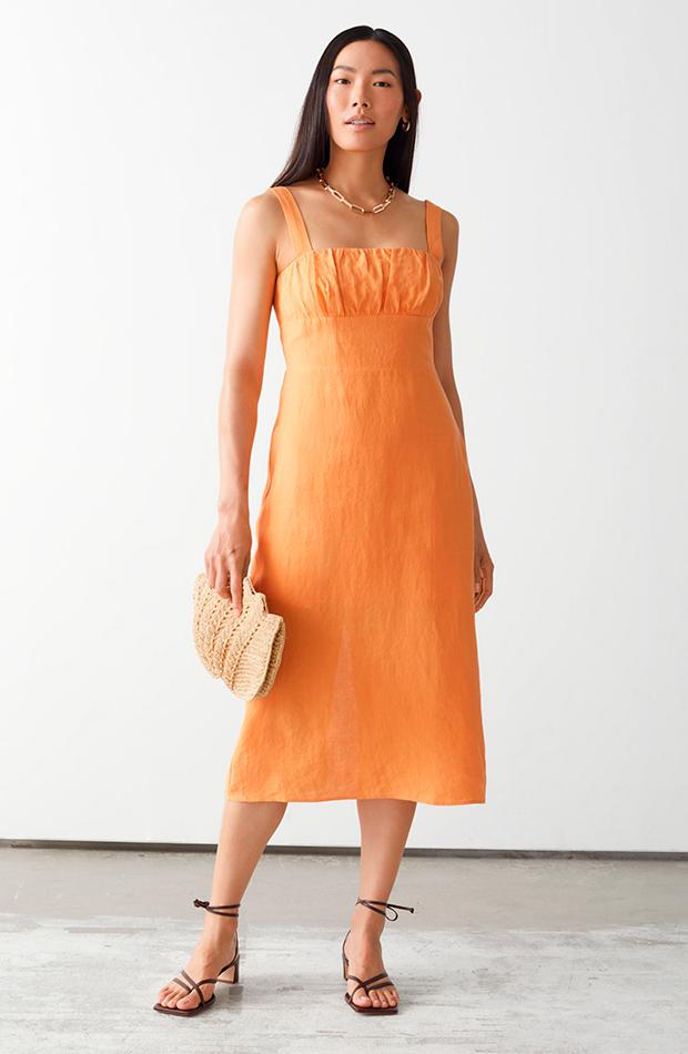 novedades and other stories Vestido naranja de lino
