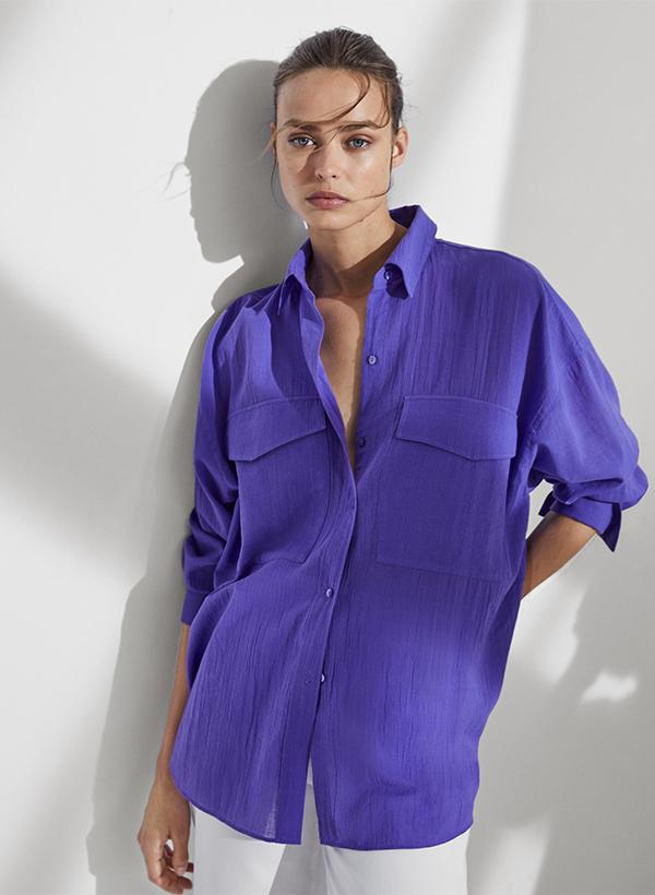 Camisa morada de lo nuevo de Massimo Dutti de verano