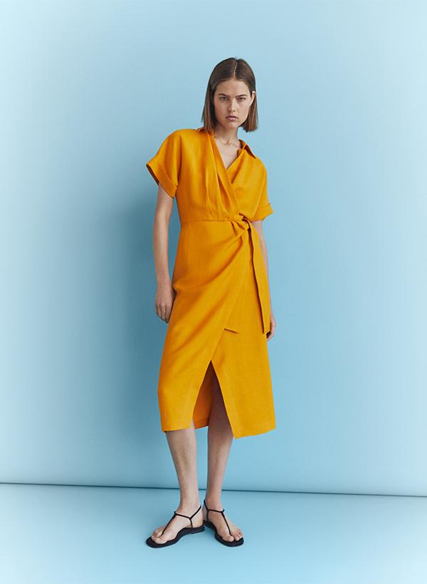Vestido naranja de lo nuevo de Massimo Dutti de verano