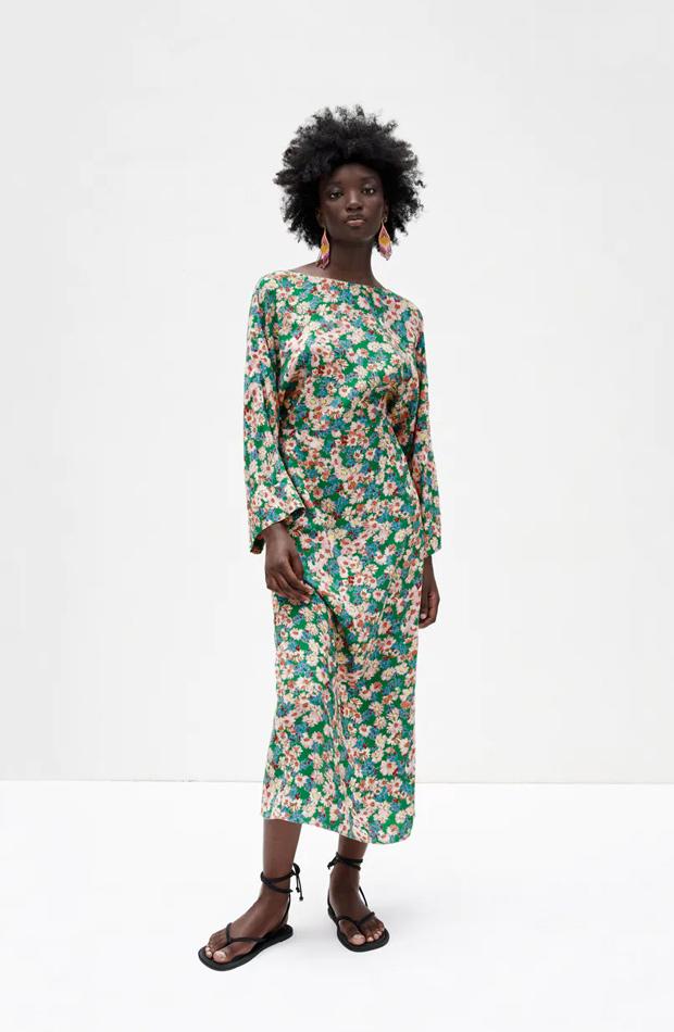 Vestido largo de flores de las rebajas de verano de Zara