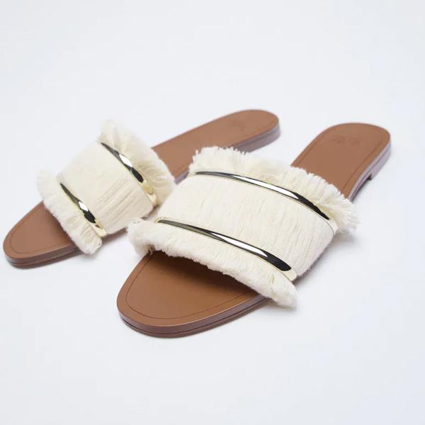 Sandalias con flecos de zara