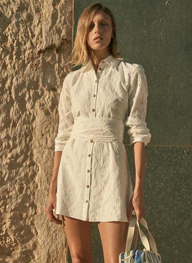 Vestido blanco camisero de zara