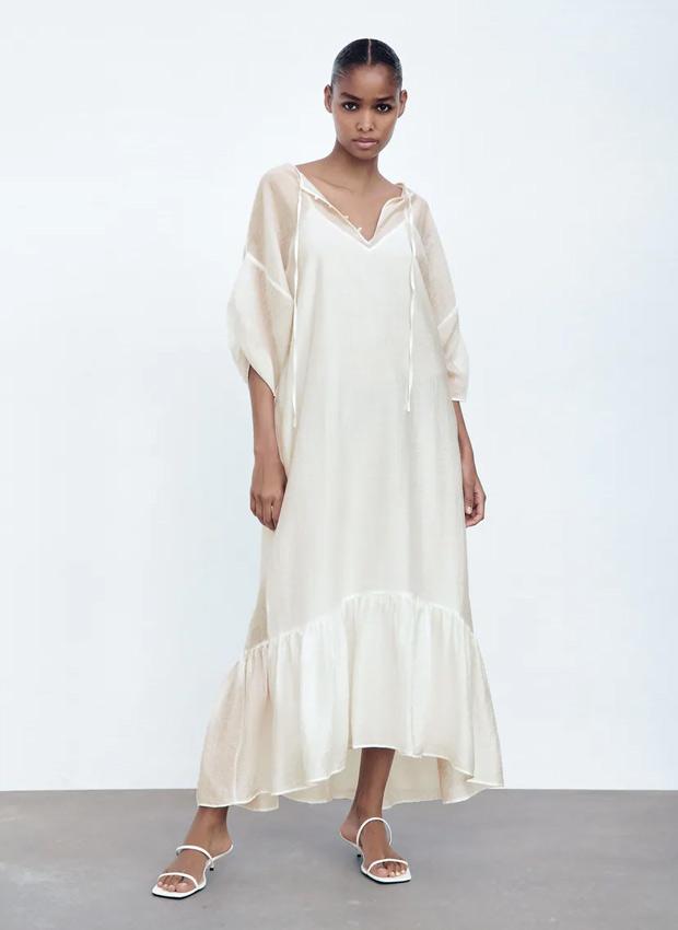Vestido blanco estilo túnica