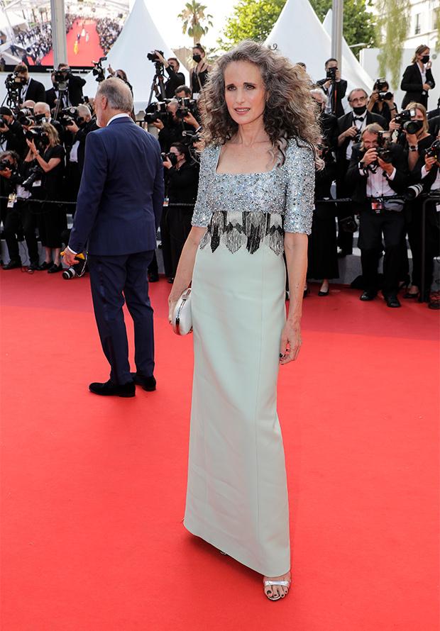 Andie McDowell en la alfombra roja del Festival de Cannes 2021