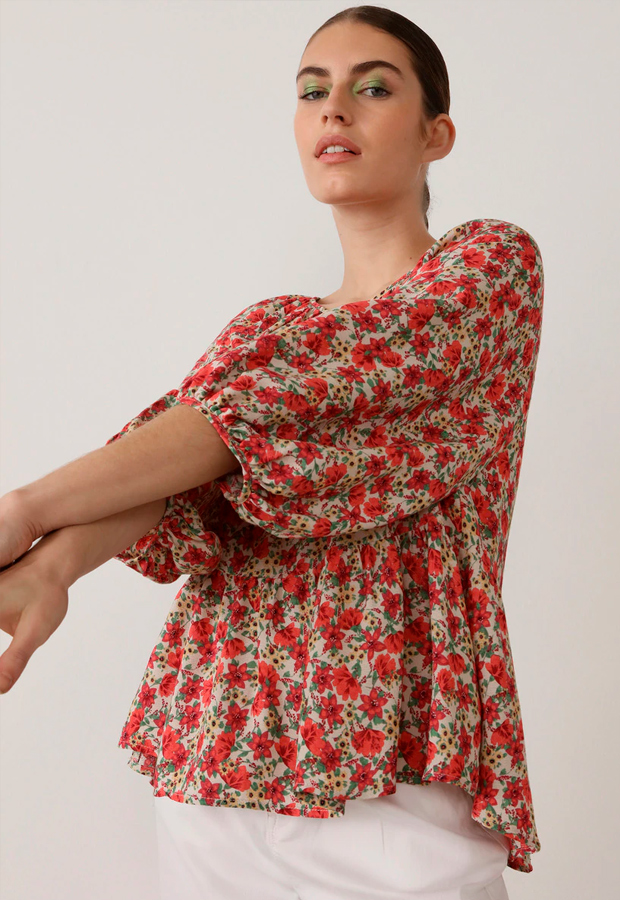 Camisa de manga larga para verano de flores