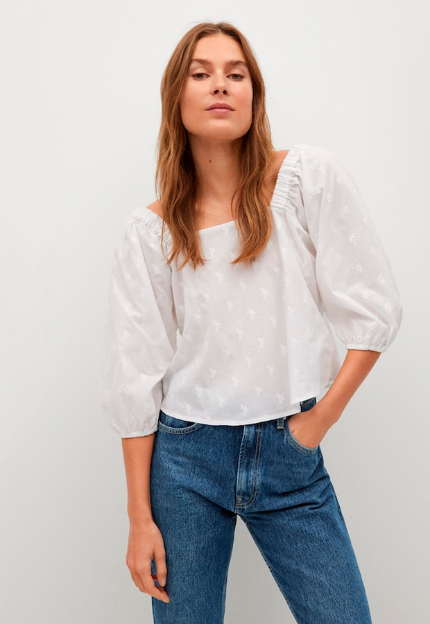 Camisa de manga larga para verano con detalles calados
