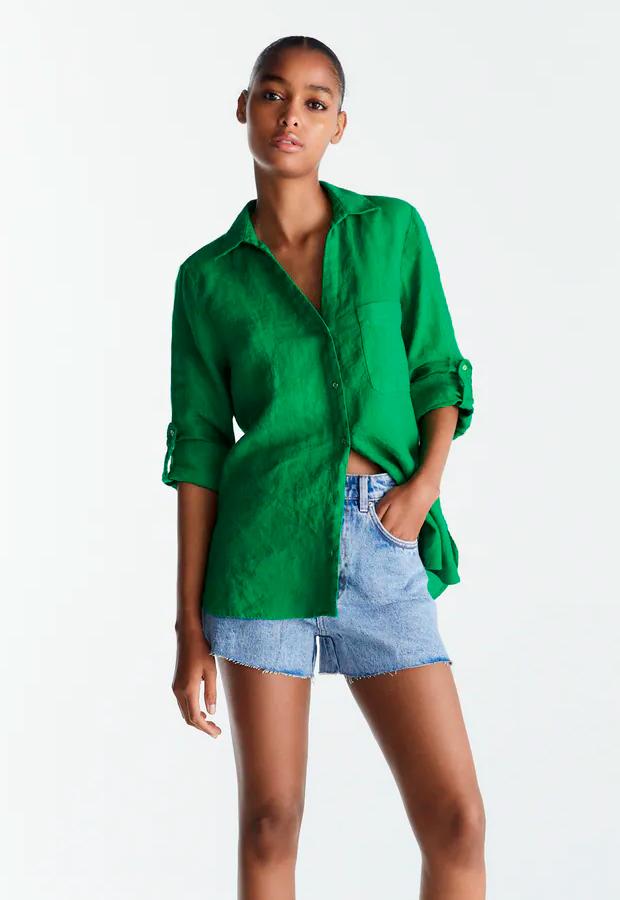 Camisa de manga larga para verano verde