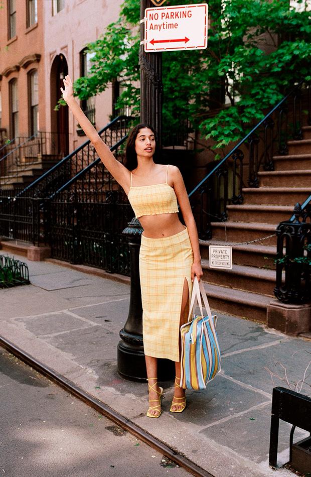 faldas de zara Midi de cuadros amarilla