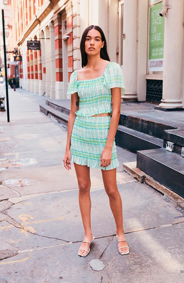 faldas de zara Elástica de cuadros verdes