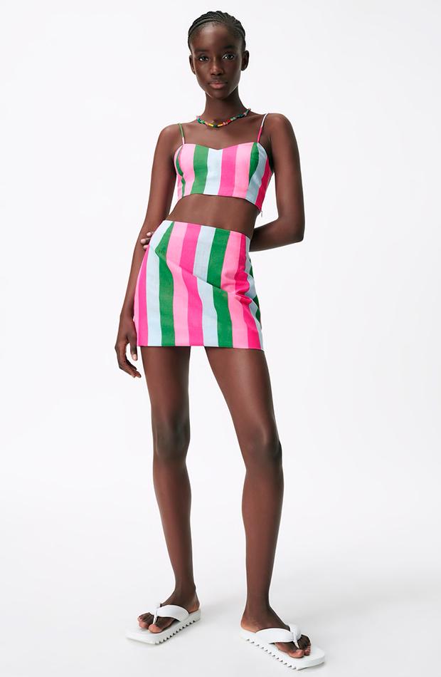 Mini de rayas faldas de zara