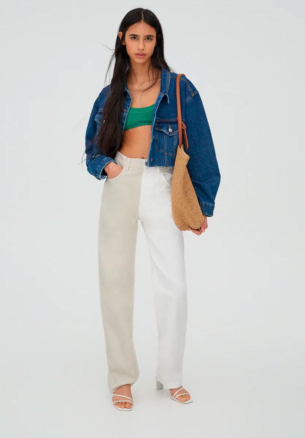 Pantalones bicolor de las segundas rebajas de Pull and Bear de verano