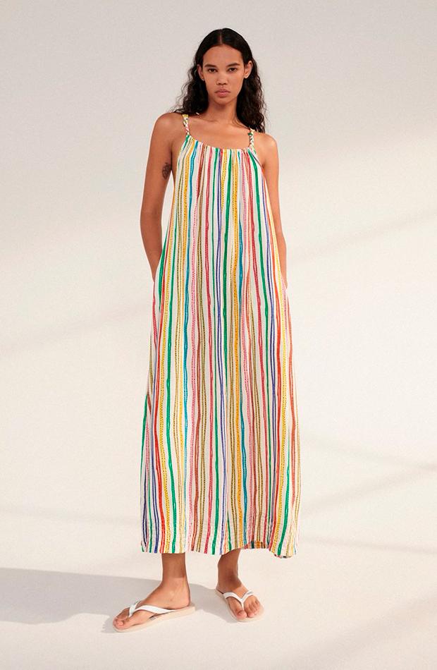 prendas de lino Vestido de rayas de Zara